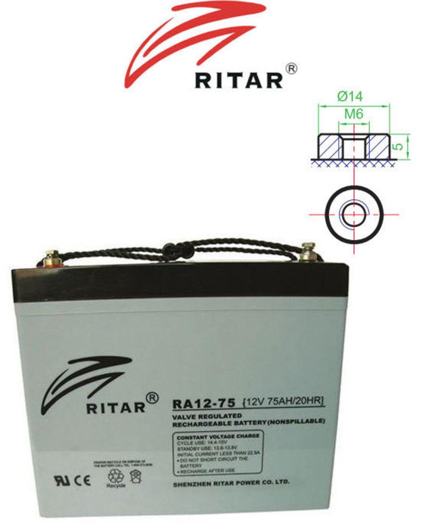 RITAR RA12-75 12V 75AH SLA Battery image 0