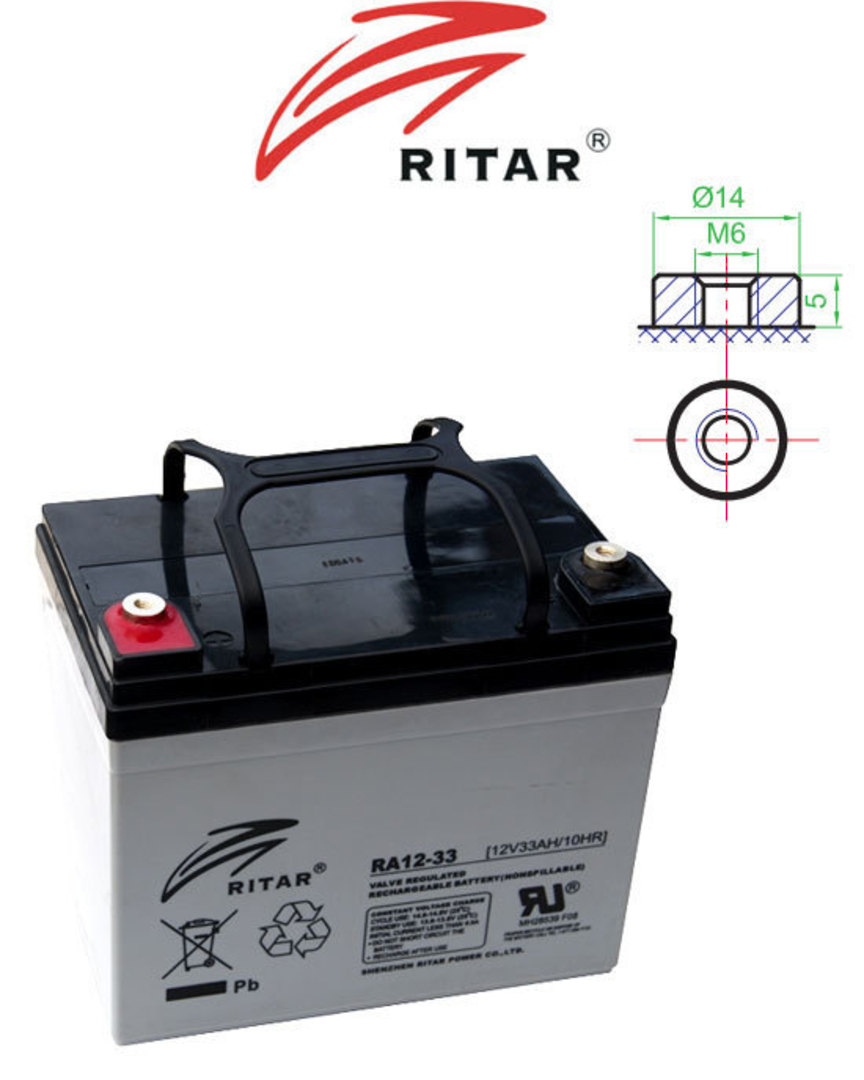 RITAR RA12-33 12V 33AH SLA battery image 0