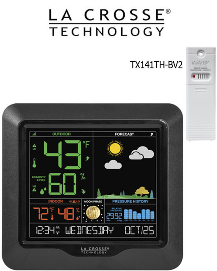 S84107 La Crosse Moon Phase Color LCD Forecast Station image 0