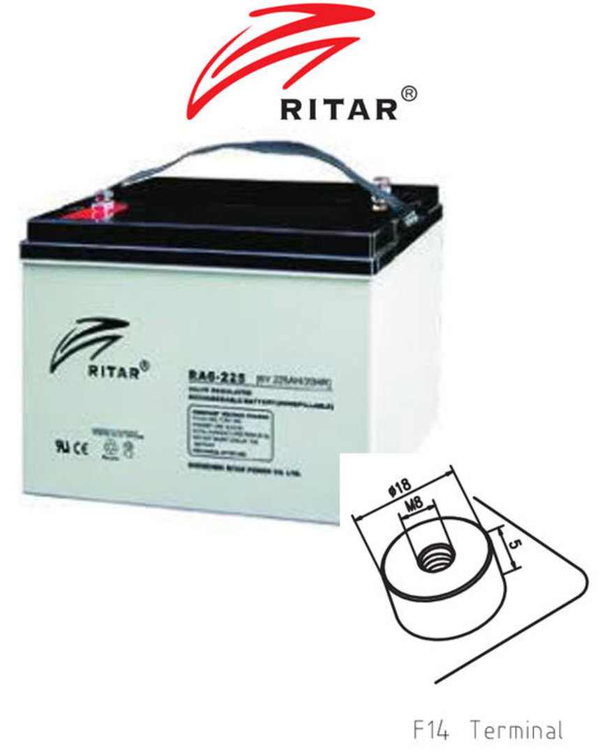 RITAR RA6-225EV 6V 225AH Deep Cycle SLA Battery image 0