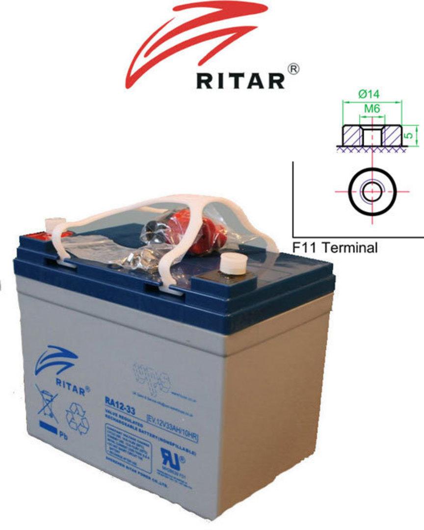 RITAR RA12-33EV 12V 33AH Deep Cycle SLA Battery image 0