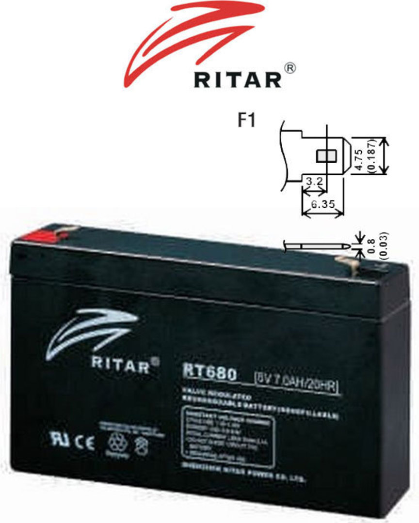 RITAR RT680 6V 8AH SLA battery image 0