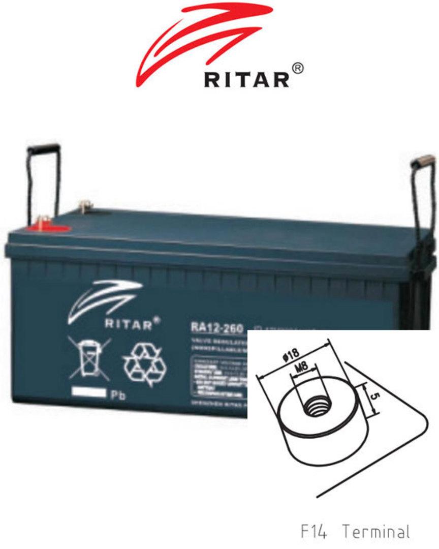 RITAR RA12-260SD 12V 260AH Deep Cycle SLA Battery image 0