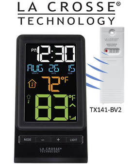 308-1415 La Crosse Color Digital Wireless Thermometer & Time