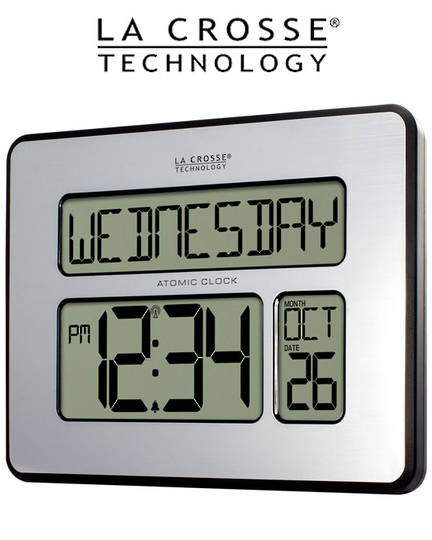 513-1419 La Crosse Digital Wall Clock with Day Display