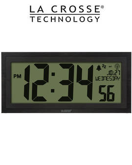 515-1419 La Crosse 38cm Large Wall Clock with Indoor Temp