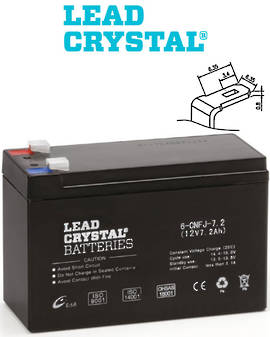 Lead Crystal 6-CNFJ-7.2 SLA 12V 7.2AH Battery