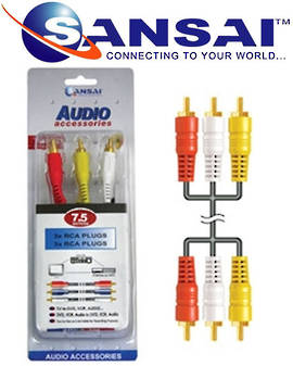 SANSAI 3RCA Plugs To Plugs 7.5m