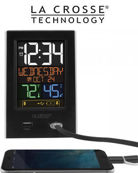 C86224 La Crosse Alarm Clock USB Charging Station