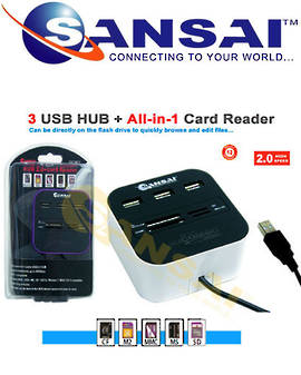 SANSAI Memory Card Reader with 3 USB Hubs