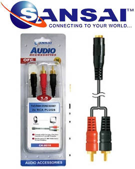 SANSAI 3.5mm Stereo Socket to 2RCA Plugs Cable 1.5m