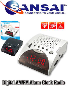 SANSAI AM/FM Radio Clock Alarm with Red LED Display