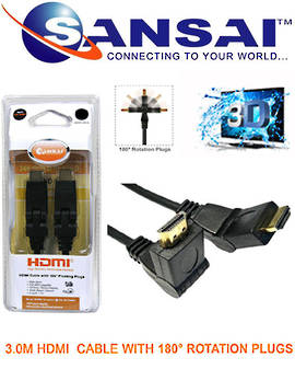 SANSAI HDMI Rotation Plug to Plug Cable 3m