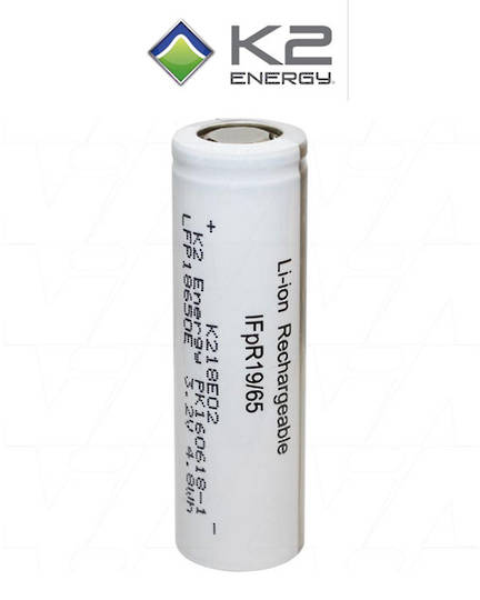 K2 Energy High Capacity Lithium Iron Phosphate 18650 battery