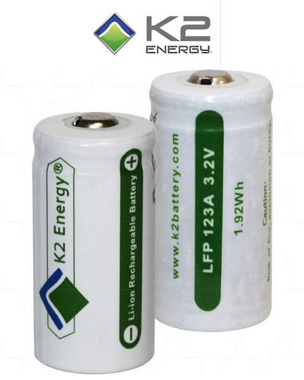 K2 Energy LFP123A LiFePO4 Rechargeable Battery
