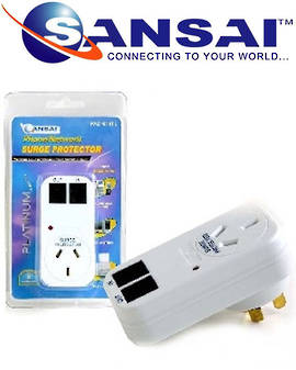 SANSAI Surge Protector with Phone Network Line Protection