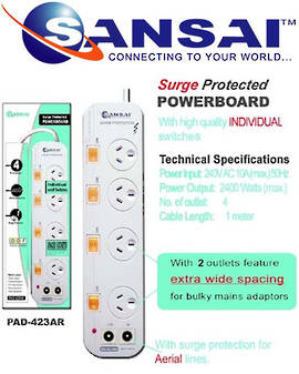 SANSAI 4 Way Surge Protected Power Board with TV Aerial line