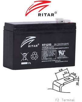 RITAR RT1250BH 12V 5AH SLA battery