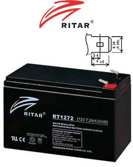 RITAR RT1272 12V 7.2AH AGM Battery SLA Lead Acid battery suitable for UPS/EPS, medical equipment, emergency light and security s
