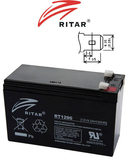 RITAR RT1290 12V 9AH SLA battery
