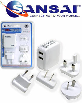 SANSAI 2-Port USB Charger Changeable Plug Adaptors