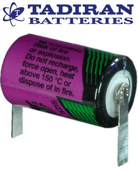 Tadiran TL-5902 (T) 1/2AA 3.6V Lithium Battery with Solder Tags