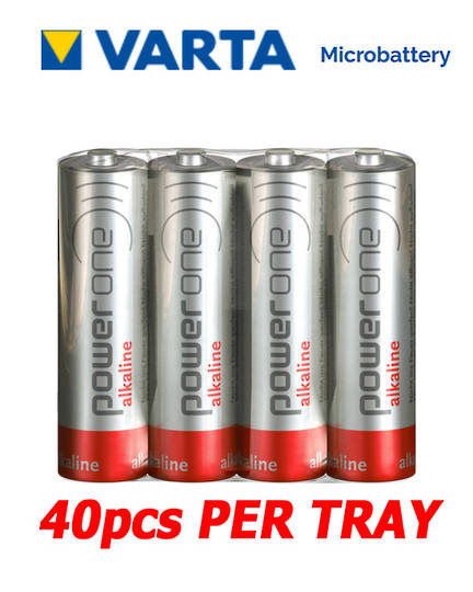VARTA POWERONE AA Alkaline Battery, Pack of 40