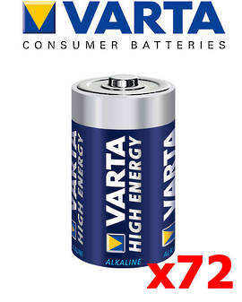 Varta High Energy C Size Alkaline 72 Pack
