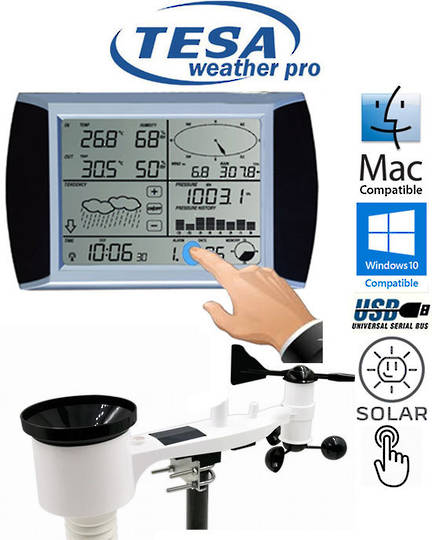 WS1081 TESA Touch Screen Panel Weather Center with PC interface