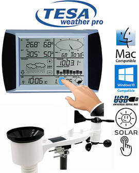 WS1081 TESA Solar Powered Touch Panel Weather Center with PC interface