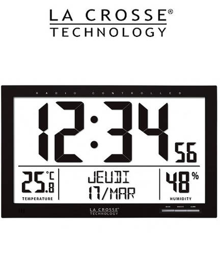 WS8013 La Crosse 37cm Large Wall Clock with Indoor Temp/Humidity