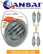 SANSAI Heavy Duty 2RCA Plugs to Plugs Cable 4.5m