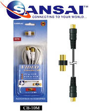 SANSAI Coax Cable TV Plug to TV Plug 10m