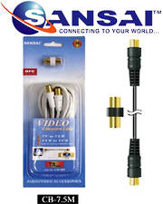SANSAI Coax Cable TV Plug to Plug 7.5m