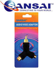 SANSAI RCA Plug to 2 RCA Sockets Audio Video Adaptor