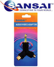 SANSAI 3.5mm Stereo Plug to 2 x RCA Sockets Adaptor