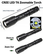 CREE XML T6 LED Flashlight Torch - Black