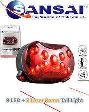 SANSAI LED Bicycle Warning Flashing Light with Laser Beans