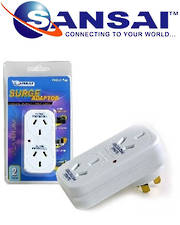 SANSAI Double Adaptor With Surge Protection