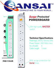 SANSAI 6 Way Surge Protected Power Board with TV Aerial line