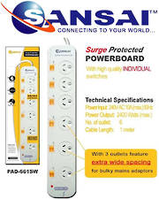 SANSAI 6 Way Surge Protected Power Board