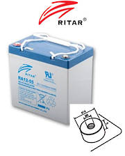 RITAR RA12-55EV 12V 55AH Deep Cycle SLA Battery