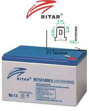 RITAR RT12120EV 12V 12AH Deep Cycle SLA Battery
