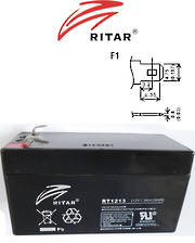 RITAR RT1213 12V 1.3AH SLA battery