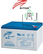 RITAR RT12140EV 12V 14AH Deep Cycle SLA battery
