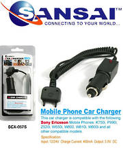 SANSAI SonyEricsson Car Charger For K750i, P990i, Z520i W550i, W800, W810i, W900i etc