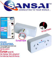 SANSAI Travel Double Adaptor for NZ/AUS to Europe and Middle East Asia