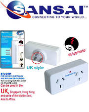 SANSAI Travel Double Adaptor for NZ/AUS to UK Singapore Malaysia HK