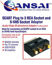 SANSAI Scart 21 Pin Plug To 3RCA Adapt Jacks + SVHS With Switch Adaptor