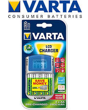 VARTA LCD Fast Charger with 4 AA Included